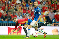 Spain's Sergio Ramos (l) and Italy's Leonardo Bonucci during FIFA World Cup 2018 Qualifying Round match. September 2,2017.(ALTERPHOTOS/Acero)