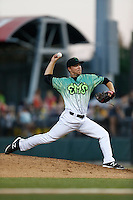 Coby Cowgill #29 of the Eugene Emeralds pitches against the Boise Hawks at PK Park on July 25, 2013 in Eugene, Oregon. Eugene defeated Boise, 5-4. (Larry Goren/Four Seam Images)