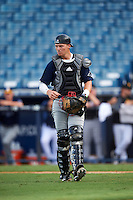 Catcher Zach Jackson (25) of Winter Haven High School in Haines City, Florida playing for the Tampa Bay Rays scout team during the East Coast Pro Showcase on August 3, 2016 at George M. Steinbrenner Field in Tampa, Florida.  (Mike Janes/Four Seam Images)