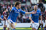 Hearts v St Johnstone…19.03.16  Tynecastle, Edinburgh<br />Murray Davidson celebrates his second goal<br />Picture by Graeme Hart.<br />Copyright Perthshire Picture Agency<br />Tel: 01738 623350  Mobile: 07990 594431