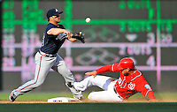 2 April 2011: Atlanta Braves second baseman Dan Uggla gets Laynce Nix out at second in the 8th inning against the Washington Nationals at Nationals Park in Washington, District of Columbia. The Nationals defeated the Braves 6-3 in the second game of their season opening series. Mandatory Credit: Ed Wolfstein Photo