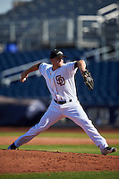 Peoria Javelinas pitcher Jason Jester (36), of the San Diego Padres organization, during a game against the Scottsdale Scorpions on October 22, 2016 at Peoria Stadium in Peoria, Arizona.  Peoria defeated Scottsdale 3-2.  (Mike Janes/Four Seam Images)