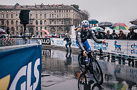 Elia Viviani (ITA/QuickStep Floors) to the sign-on<br /> <br /> 109th Milano-Sanremo 2018<br /> Milano > Sanremo (291km)