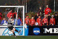 Ohio State Buckeyes goalkeeper Casey Latchem (1) clears a ball in front of Ohio State fans. The Wake Forest Demon Deacons defeated the Ohio State Buckeyes 2-1 in the finals of the NCAA College Cup at SAS Stadium in Cary, NC on December 16, 2007.