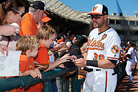 Baltimore Orioles third baseman Renato Nunez (39) signs autographs for fans before a Grapefruit League Spring Training game against the Detroit Tigers on March 3, 2019 at Ed Smith Stadium in Sarasota, Florida.  Baltimore defeated Detroit 7-5.  (Mike Janes/Four Seam Images)
