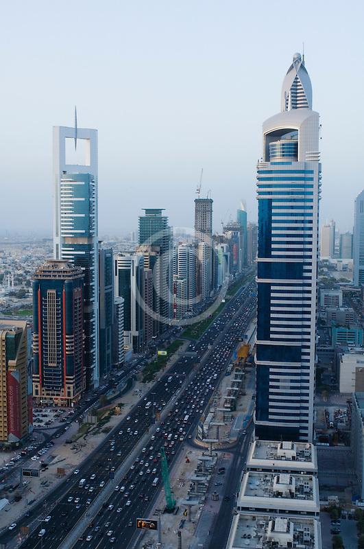 United Arab Emirates, Dubai, Sheikh Zayed Road and Dubai business district, high angle view