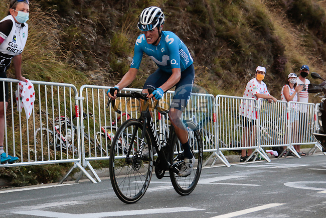 Enric Mas Nicolau (ESP) Movistar Team climbs the Col de Peyresourde in front during Stage 8 of Tour de France 2020, running 141km from Cazeres-sur-Garonne to Loudenvielle, France. 5th September 2020. <br /> Picture: Colin Flockton | Cyclefile<br /> All photos usage must carry mandatory copyright credit (© Cyclefile | Colin Flockton)