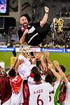 Qatar Head Coach Felix Sanchez Bas is throwing up during the AFC Asian Cup UAE 2019 Final match between Japan (JPN) and Qatar (QAT) at Zayed Sports City Stadium  on 01 February 2019 in Abu Dhabi, United Arab Emirates. Photo by Marcio Rodrigo Machado / Power Sport Images