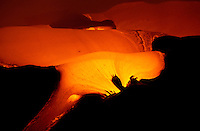 River of hot molten lava flowing from Kilauea volcano, Hawaii Volcanoes National Park