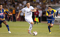 Cristiano Ronaldo dribbles the ball. Real Madrid defeated Club America 3-2 at Candlestick Park in San Francisco, California on August 4th, 2010.