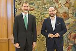 Spanish King Felipe and Mayor of Santiago de Compostela, Martino Noriega Sanchez attends at Zarzuela's Palace in Spain. March 76, 2017. (ALTERPHOTOS / Rodrigo Jimenez)