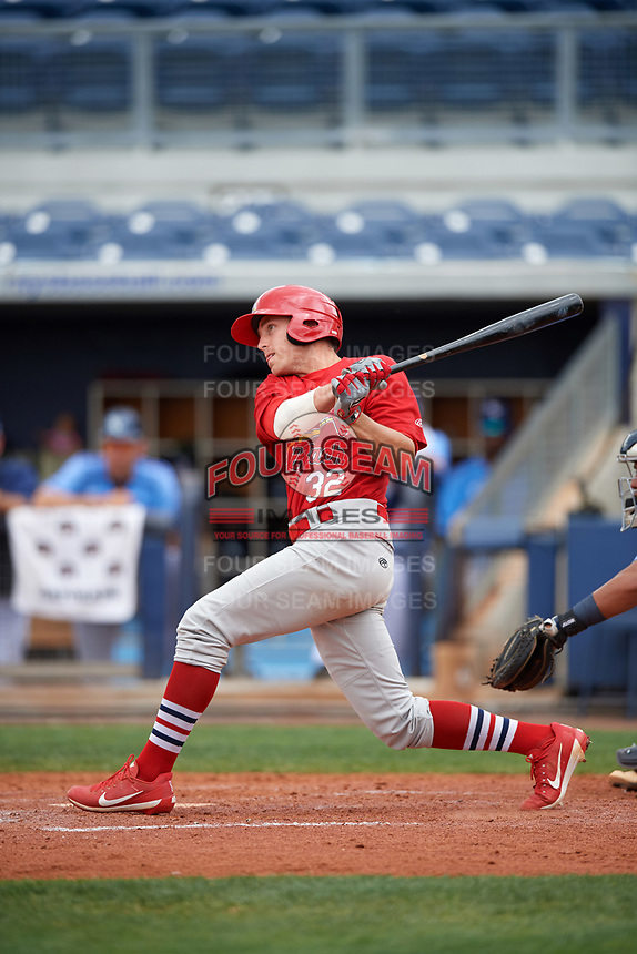 Palm Beach Cardinals designated hitter Luke Dykstra (32) hits a home run during a game against the Charlotte Stone Crabs on April 12, 2017 at Charlotte Sports Park in Port Charlotte, Florida.  Palm Beach defeated Charlotte 8-7 in ten innings.  (Mike Janes/Four Seam Images)