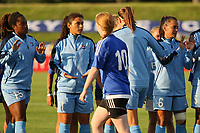 Piscataway, NJ - Wednesday June 28, 2017: Kayla Mills, Raquel Rodriguez, Taylor Lytle prior to a regular season National Women's Soccer League (NWSL) match between Sky Blue FC and the Orlando Pride at Yurcak Field.