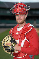 Arkansas Travelers catcher Jett Bandy (27) poses for a photo before a game against the San Antonio Missions on May 25, 2014 at Dickey-Stephens Park in Little Rock, Arkansas.  Arkansas defeated San Antonio 3-1.  (Mike Janes/Four Seam Images)