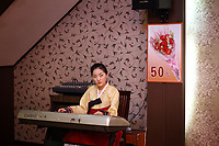 China. Jilin Province. A North Korean woman plays music for customers in a restaurant in the town of Yanji, close to the border with North Korea. The town is part of the Korean Autonomous Prefecture in the north-east of the country. 2011