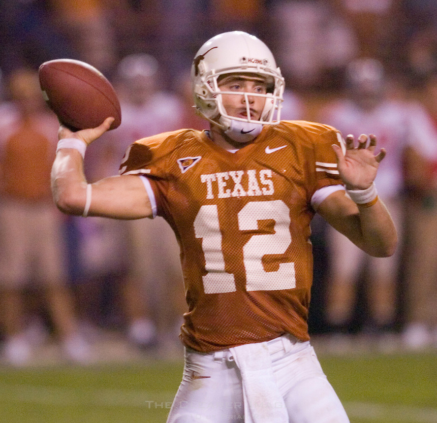 09 September 2006: Texas quarterback Colt McCoy unleashes a pass during the Longhorns 24-7 loss to the Ohio State Buckeyes at Darrell K Royal Memorial Stadium in Austin, TX.