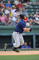 Third baseman David Thompson (8) of the Columbia Fireflies bats in a game against the Greenville Drive on Thursday, April 21, 2016, at Fluor Field at the West End in Greenville, South Carolina. Columbia won, 13-9. (Tom Priddy/Four Seam Images)