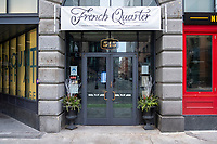"French Quarter, a restaurant in Downtown Crossing, has gone into temporary closure hibernation due to restrictions on restaurants put in place during the ongoing Coronavirus (COVID-19) global pandemic in Boston, Massachusetts, on Sat., Jan. 9, 2021. A Dec. 9, 2020, announcement from French Quarter and sister-restaurant Back Deck proprietor Brad Fredericks, stated, in part: ""We tried earnestly to remain open since our restart in late June, and reached a level of stabilization in October, but recently just too much damn COVID...We will continue to monitor COVID cases, vaccine implementation, returning activity in our downtown neighborhood, potential government stimulus…and will reopen when we determine it prudent. My sincere hope is that reopening will ocur while we are still in winter months."""