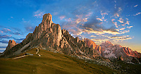 Nuvolau mountain at sunset above the Giau Pass (Passo di Giau), Colle Santa Lucia, Dolomites, Belluno, Italy