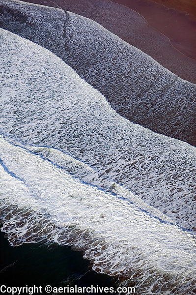 aerial photographs of Pacific Ocean waves at the San Mateo County shoreline, California