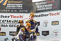 #73 MINI JCW Team, MINI JCW, ST: Mat Pombo, Mike LaMarra, #81 BimmerWorld Racing, BMW 328i, ST: Nick Galante, Devin Jones, #21 Bodymotion Racing, Porsche Cayman, ST: Max Faulkner, Jason Rabe, podium, champagne