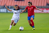HOUSTON, TX - JANUARY 28: Maryorie Perez #14 of Panama tackles Melissa Herrera #7 of Costa Rica during a game between Costa Rica and Panama at BBVA Stadium on January 28, 2020 in Houston, Texas.