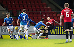 St Johnstone v Kilmarnock…24.11.18…   McDiarmid Park    SPFL<br />Chris Burke shoots for goal, but his shot is saved by keeper Zander Clark<br />Picture by Graeme Hart. <br />Copyright Perthshire Picture Agency<br />Tel: 01738 623350  Mobile: 07990 594431