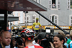 Yellow Jersey Julian Alaphilippe (FRA) Deceuninck-Quick Step at sign on before the start of Stage 14 of the 2019 Tour de France running 117.5km from Tarbes to Tourmalet Bareges, France. 20th July 2019.<br /> Picture: Colin Flockton | Cyclefile<br /> All photos usage must carry mandatory copyright credit (© Cyclefile | Colin Flockton)