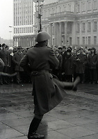 East & West Berlin Nov 1976 - <br /> <br /> Jeff Thomas Photography -  www.jaypics.photoshelter.com - <br /> e-mail swansea1001@hotmail.co.uk -<br /> Mob: 07837 386244 -<br /> <br /> The East Berlin guards perform the Goose step march at an East Berlin memorial. <br /> <br /> These pictures were taken before the removal of the Berlin wall. Some of the pictures were taken through the window of a coach on a bitterly cold bleak November day. And some of the negatives have been damaged and not possible to clean thoroughly in case of further damage to them.