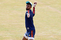 Feroze Khushi of Essex undertakes throwing drills prior to Essex CCC vs Surrey CCC, Bob Willis Trophy Cricket at The Cloudfm County Ground on 9th August 2020
