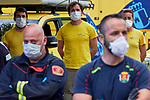 Firefighters during the minute of silence today for the victims of the pandemic COVID19. Apr 24, 2020. (ALTERPHOTOS/Manu R.B.)