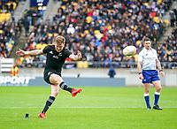 11th October 2020; Sky Stadium, Wellington, New Zealand;  All Black's Jordie Barrett kicks a conversion. Bledisloe Cup rugby union test match between the New Zealand All Blacks and Australia Wallabies.