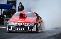 Sept. 30, 2011; Mohnton, PA, USA: NHRA pro stock driver V. Gaines during qualifying for the Auto Plus Nationals at Maple Grove Raceway. Mandatory Credit: Mark J. Rebilas-