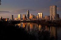 Beautiful Austin skyline reflection at sunset