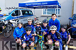 Juvenile members of the Slieve Luchra Cycling Club warming up for the annual John Drum cycling (Juvenile Road race) in Currow on Sunday..<br /> Front l-r, Aiden Morley, George Cleverly, Dan Murphy and  .<br /> Back l-r, Amy Fleming, Dan Murphy, Denny Murphy, Denis O'Connor and Kate Murphy.