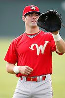 August 2, 2009:  Designated Hitter Ryan Gugel (4) of the Williamsport Crosscutters warms up before a game at Dwyer Stadium in Batavia, NY.  Williamsport is the NY-Penn League Short-Season Class-A affiliate of the Philadelphia Phillies.  Photo By Mike Janes/Four Seam Images