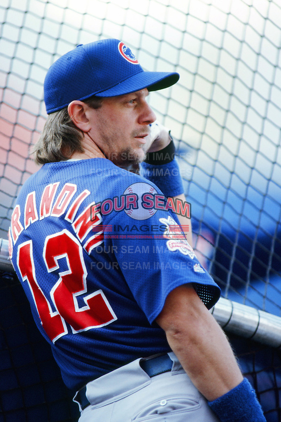Mickey Morandini of the Chicago Cubs before a 1999 Major League Baseball season game against the Los Angeles Dodgers in Los Angeles, California. (Larry Goren/Four Seam Images)
