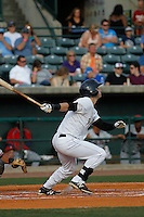 Charleston RiverDogs outfielder Dustin Fowler (5) at bat  during a game against the Hickory Crawdads at Joseph P. Riley Jr. Ballpark on May 2, 2015 in Charleston, South Carolina. Hickory defeated Charleston  4-1. (Robert Gurganus/Four Seam Images)