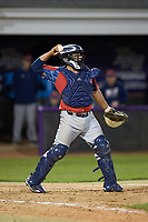 NJIT Highlanders catcher Edgar Badaraco (28) on defense against the High Point Panthers at Williard Stadium on February 18, 2017 in High Point, North Carolina. The Highlanders defeated the Panthers 4-2 in game two of a double-header. (Brian Westerholt/Four Seam Images)