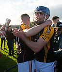 Ballyea players Brandon O Connell and James Murphy celebrate following the county senior hurling final against Cratloe at Cusack Park. Photograph by John Kelly.
