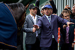 JUNE 5, 2015: Ahmed Zayat, owner of American Pharoah,  watches American Pharoah getting a bath after exercising in preparation for the 147th running of the Belmont Stakes at Belmont Park in New York, NY. Jon Durr/ESW/CSM