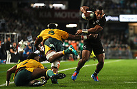 Sevu Reece scores during the Bledisloe Cup rugby match between the New Zealand All Blacks and Australia Wallabies at Eden Park in Auckland, New Zealand on Saturday, 17 August 2019. Photo: Simon Watts / lintottphoto.co.nz