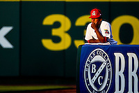 Jorge Rondon (40) of the Springfield Cardinals stands in the bullpen during a game against the Midland RockHounds at Hammons Field on July 11, 2011 in Springfield, Missouri. (David Welker / Four Seam Images)