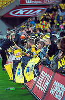 Fans gather for autographs during the Super Rugby match between the Hurricanes and Jaguares at Westpac Stadium, Wellington, New Zealand on Saturday, 9 April 2016. Photo: Dave Lintott / lintottphoto.co.nz