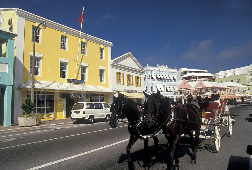 Bermuda, Hamilton, Carriage ride along Front Street in the town of Hamilton in Bermuda.