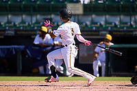Bradenton Marauders Endy Rodriguez (5) bats during a game against the Fort Myers Mighty Mussels on May 9, 2021 at LECOM Park in Bradenton, Florida.  (Mike Janes/Four Seam Images)