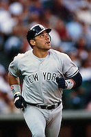 Jim Leyritz of the New York Yankees during a game against the Anaheim Angels circa 1999 at Angel Stadium in Anaheim, California. (Larry Goren/Four Seam Images)