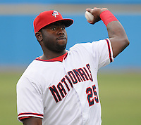July 17, 2009: Outfielder Michael Burgess (25) of the Potomac Nationals, Carolina League affiliate of the Washington Nationals, in a game against the Kinston Indians at G. Richard Pfitzner Stadium in Woodbridge, Va. Photo by: Tom Priddy/Four Seam Images