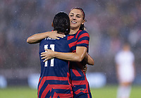EAST HARTFORD, CT - JULY 1: Christen Press #11 of the USWNT celebrates a goal with Alex Morgan #13 during a game between Mexico and USWNT at Rentschler Field on July 1, 2021 in East Hartford, Connecticut.