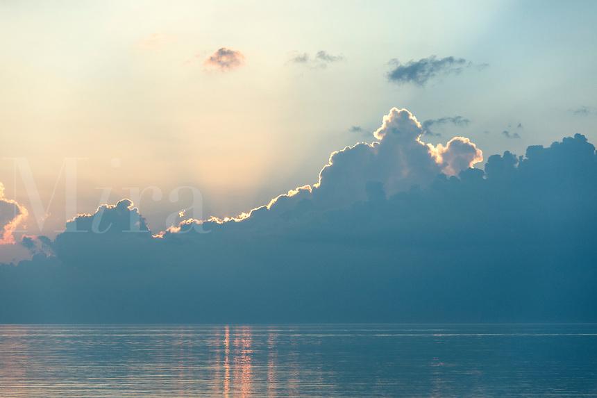 Daybreak on the ocean, Nauset Beach, Cape Cod, Massachusetts, USA
